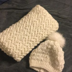 White Infinity Scarf and Beanie